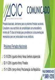 Comunicado ACIC próximos feriados 2016