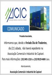 Horário  Atendimento  da ACIC 21 de Abril