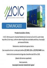 COMUNICADO FECHAMENTO ASSOCIAÇÃO COMERCIAL