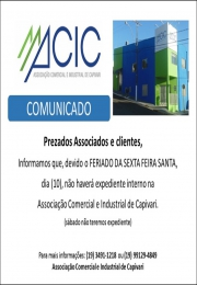 Horário de atendimento da ACIC em 10 abril de 2020