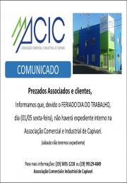 Horário de atendimento da ACIC para 01/05/2020