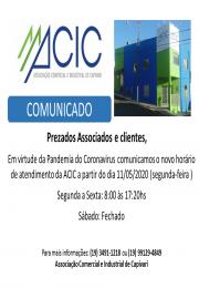 Novo horário de atendimento da ACIC
