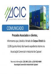Horário de atendimento da ACIC para 11/06/2020