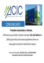 Horário de atendimento da ACIC para 24/06/2020
