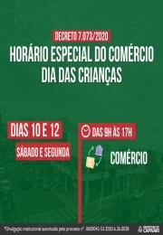 Comércio terá horário especial no dia 10 e no feriado dia 12