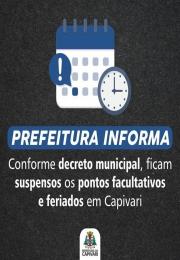 Em decreto, Prefeito reduz pontos facultativos e cancela Carnaval