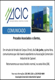 Horário de funcionamento ACIC em  03-06-2021