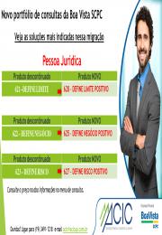 Novo Portfólio de consultas da Boa Vista SCPC PJ e PF