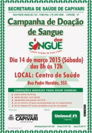 Sábado dia 14/03, você pode salvar vidas em Capivari: DOE SANGUE!